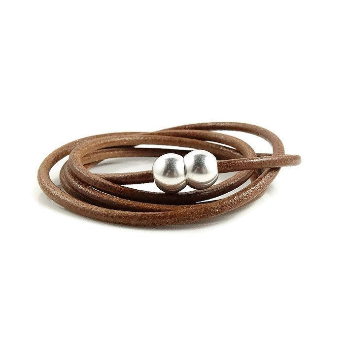 Brown Leather Skinny Wrap Bracelet