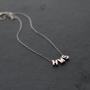 Sterling Silver Alphabet Beads with Sterling Silver Chain