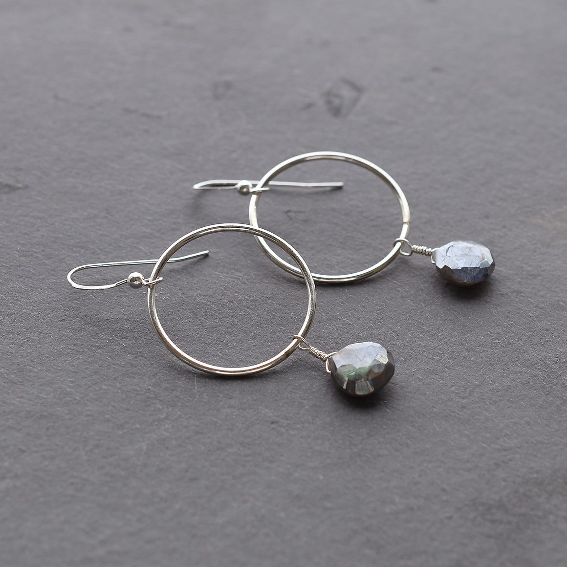 Dangly Labradorite Circle Earrings