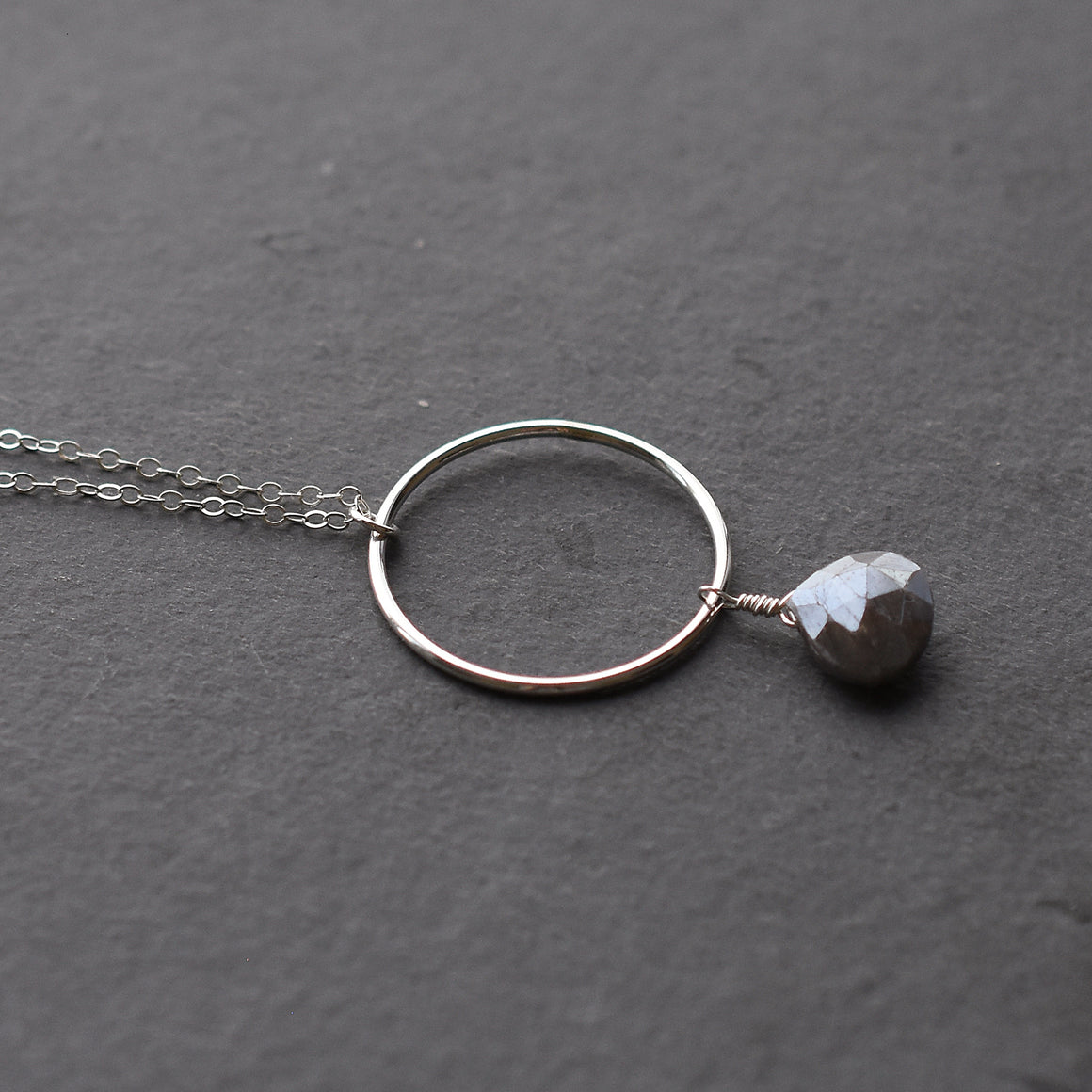 Long Labradorite Silver Necklace