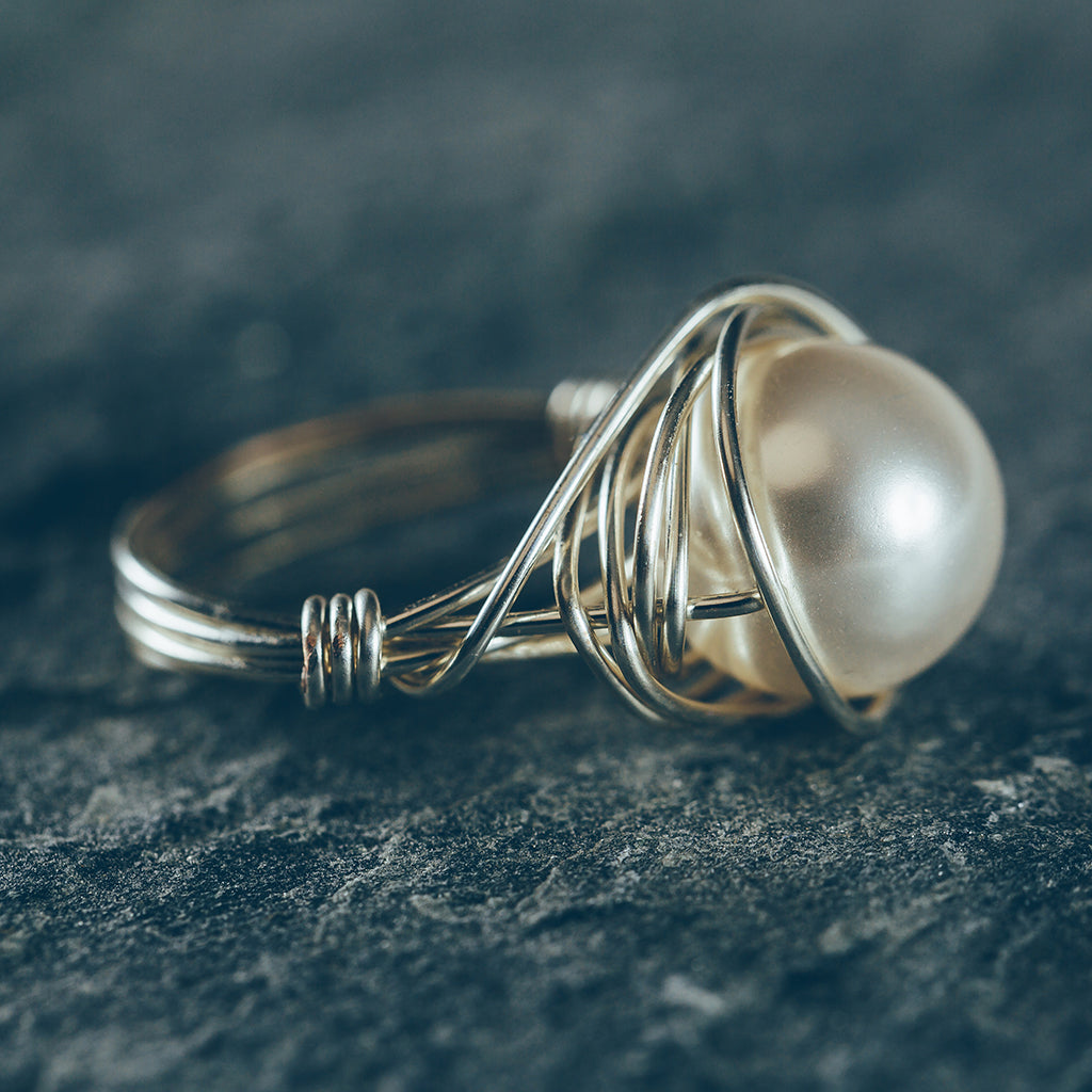 Fine Wire Wrapped Pearl Earrings Illustration Electrical