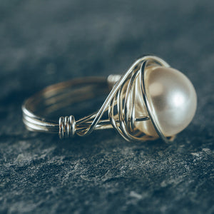 Wire Wrapped Pearl Ring