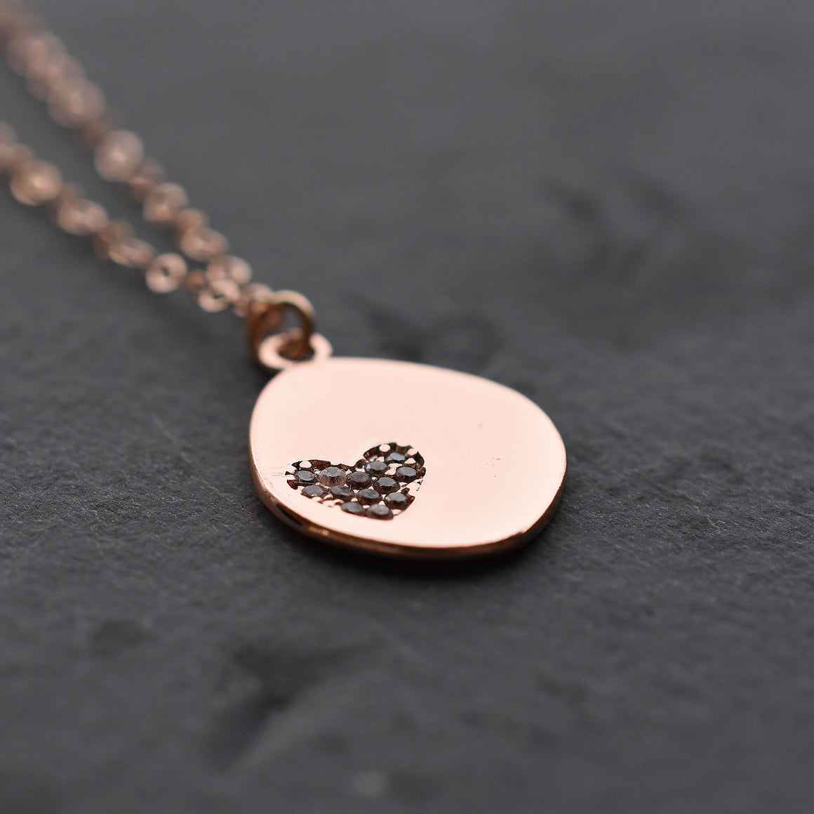 Rose Gold Sparkly Heart Necklace