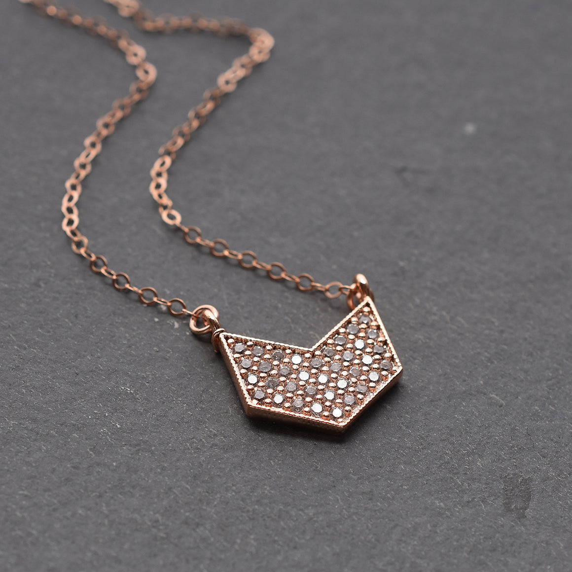 Rose Gold Chevron Pendant Necklace