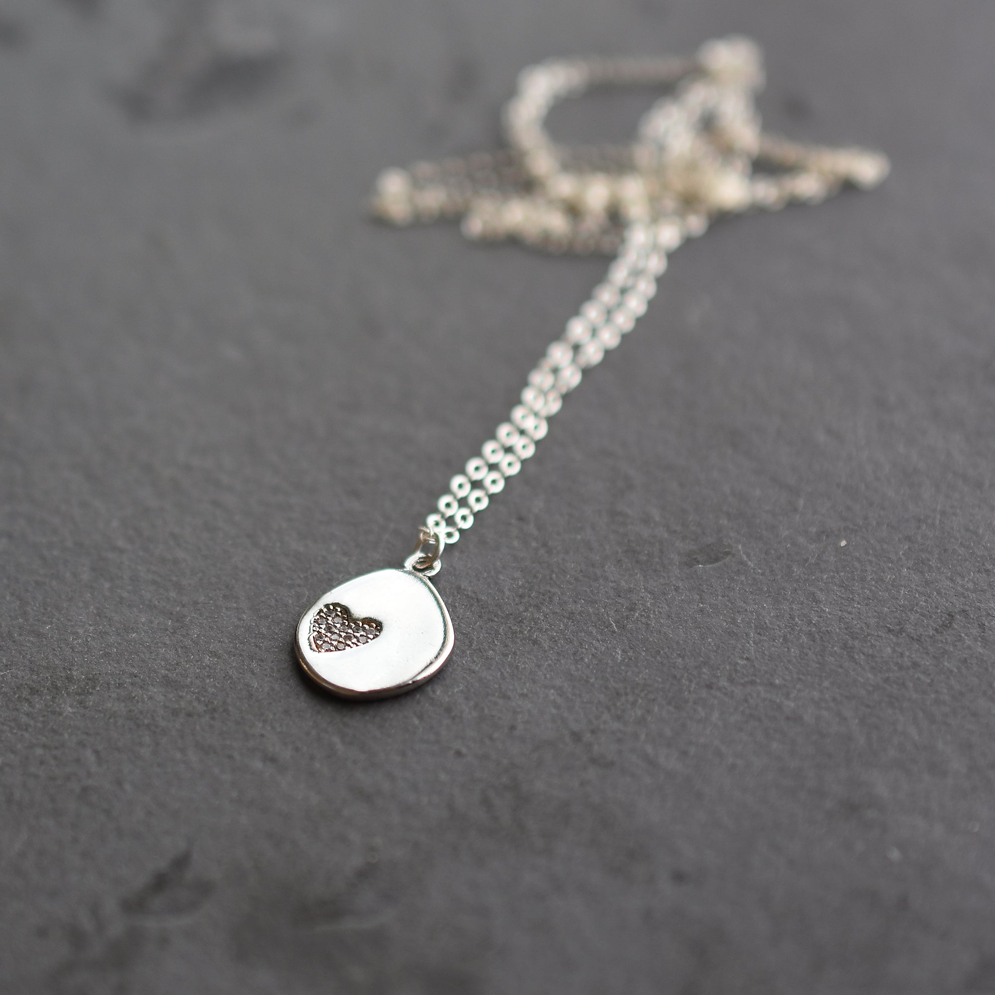 Silver Sparkly Heart Necklace