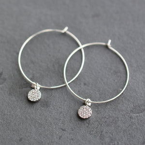 Sparkly Silver Hoop Earrings