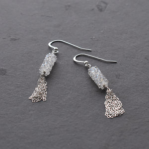 Sparkly Silver Tassel Earrings