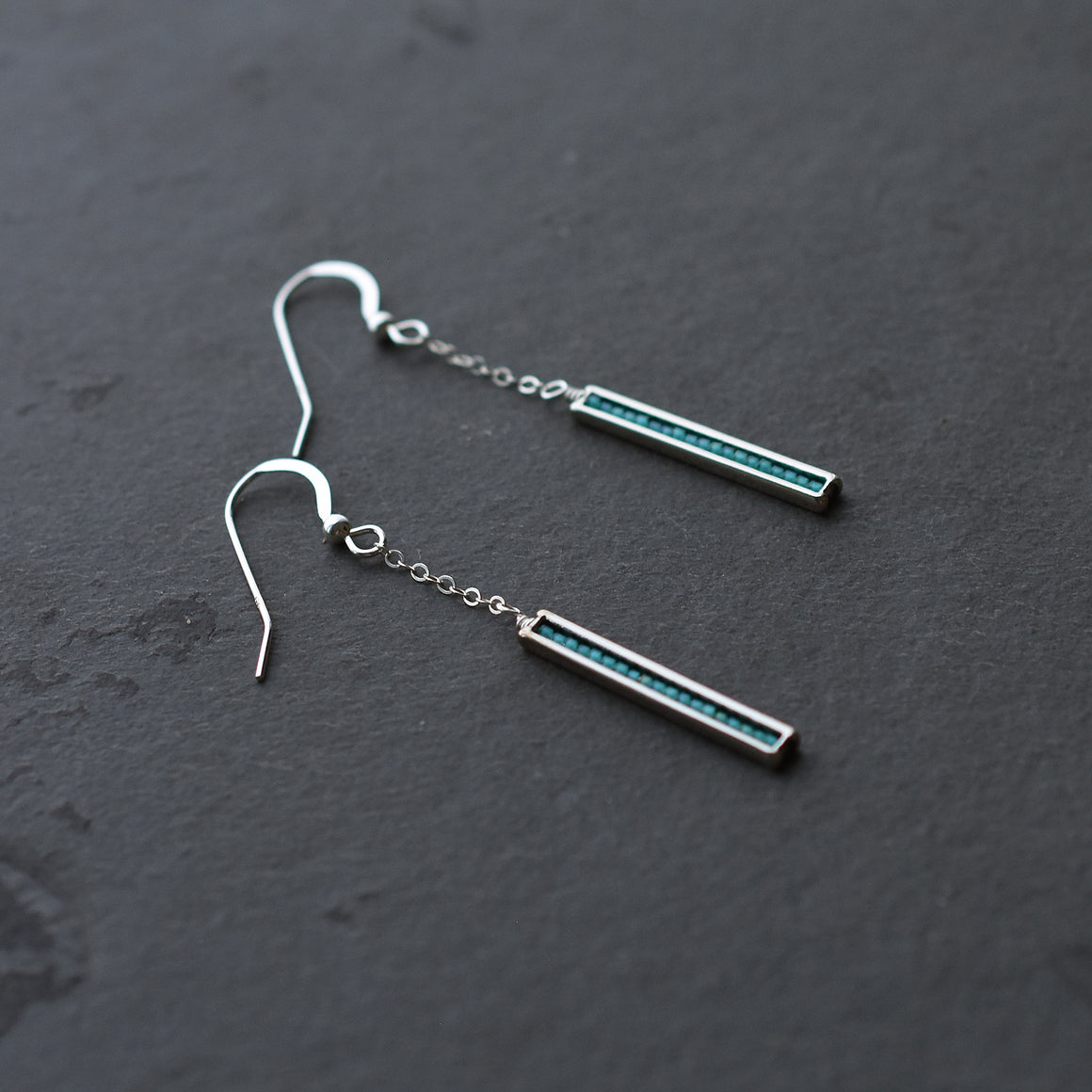 Silver and Teal Earrings