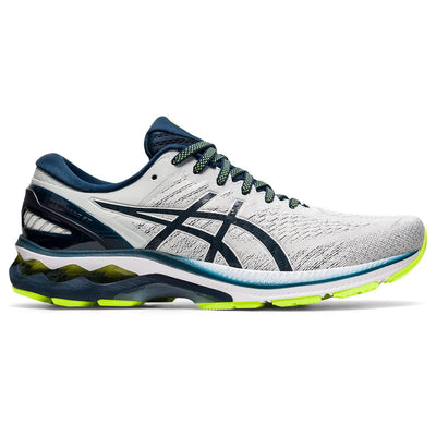 The ASICS Kayano has been our best-selling style at Frontrunners for a long time.  The newest version # 27 will not disappoint.  It's redesigned mesh upper helps keep feet cool, while the sole is more flexible to help promote a more natural roll through the gait cycle. This process starts in the heel with added flex grooves that isolate the initial impact to force a softer and smoother feeling at footstrike.