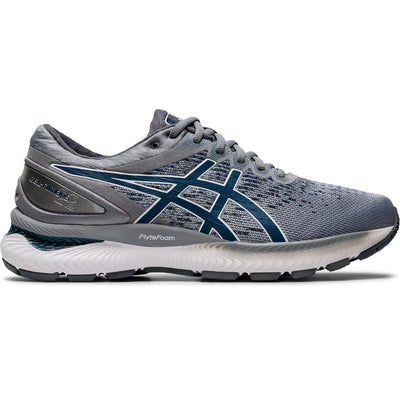 The Men's Nimbus 22 Knit from ASICS is a versatile shoe for neutral runners. It featuring ASICS Gel that's visible around most of the shoe, but also extends thru the forefoot.  This Gel provides excellent cushioning and comfort no matter if your going for the long run, or a short walk to the pub.