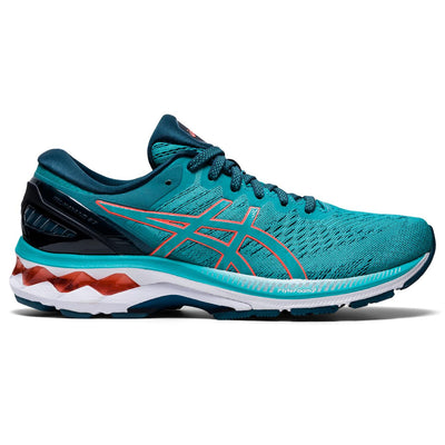 The ASICS Kayano has been our best-selling style at Frontrunners for a long time.  The newest version # 27 will not disappoint.  It's redesigned mesh upper helps keep feet cool, while the sole is more flexible to help promote a more natural roll through the gait cycle. This process starts in the heel with  flex grooves