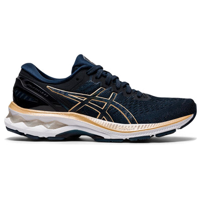 The Women's ASICS Kayano has been our best-selling style at Frontrunners for a long time.  The newest version # 27 will not disappoint.  It's redesigned mesh upper helps keep feet cool, while the sole is more flexible to help promote a more natural roll through the gait cycle.