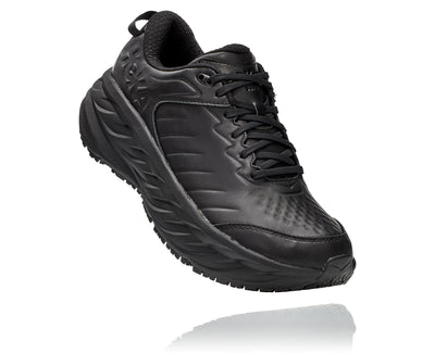 The Men's Hoka Bondi SR features a water-resistant leather upper along with a slip-resistant outsole.