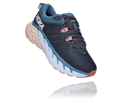 "The Women's Gaviota 3 is the premium stability shoe offered by Hoka. They use a ""J"" shape in the mid-sole to help control the foot from inward roll or over-pronation.  This is done by having the the ""J"" wrap around the heel then stretch underneath the arch.  The goal is to offer support without using a stiff media material like many stability shoes of the past."