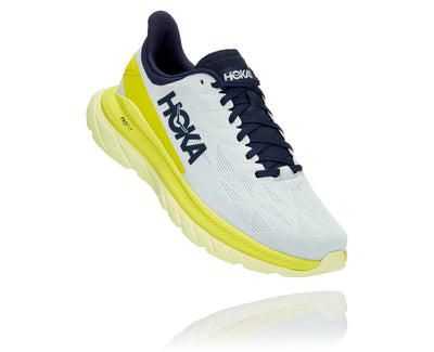 The Men's Mach 4 from Hoka takes a huge leap forward being built on same themes inspired by the Hoka One One Rocket X and the Carbon X. Designed for logging long miles, this Mach 4 delivers a lively ride and energetic underfoot feel.
