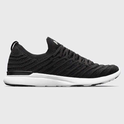 Men's APL Tech Loom Wave in Black and White with a side view of the APL shoe
