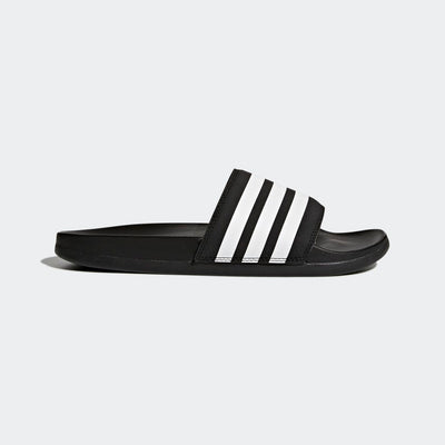 Women's adidas Adillete Comfort Slide in a Black and White adidas 3 stripe pattern