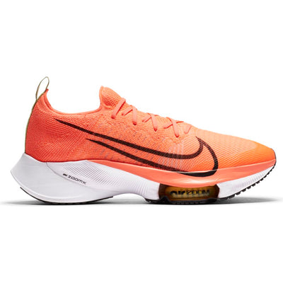 We've been waiting for the Men's Tempo Next % from Nike.  This shoe clearly looks similar to the fastest running shoe ever make, the Nike Alpha Fly. Yet it is much more durable allowing it to be used as a everyday training shoe.