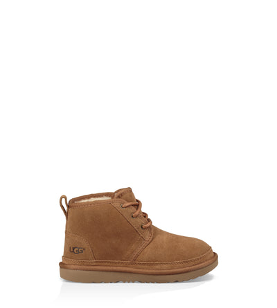 Warm and soft, Ugg's best-selling Neumel in Chesnut features ultra-soft UGGpure™ wool lining to keep your little one cozy. This chukka is built to move the way kids do with a rocker-bottom shape for a barefoot feel and our super-lightweight outsole for traction and durability.