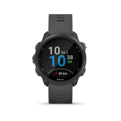 You do the running. Forerunner® 245 does the thinking. This GPS running smartwatch evaluates performance stats such as VO2 max, aerobic and anaerobic training effect, and training status, which indicates if you're undertraining or overdoing it. You can also track advanced running dynamics1 such as ground contact time balance and stride length.