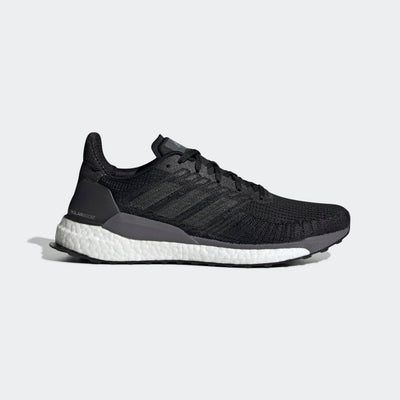 Men's adidas Solar Boost 19 in color black and white.  This adidas running shoe is a picture of the right shoe from the lateral side.