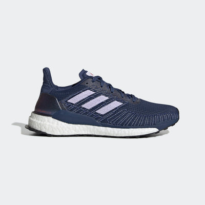Women's adidas Solar Boost 19, view of the adidas running shoe is from the lateral side of the right shoe.  the color is indigo and purple