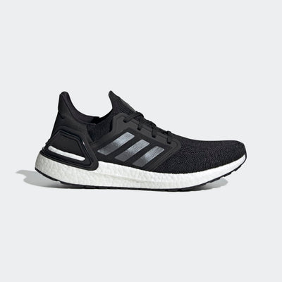 Men's adidas UltraBoost 20 running shoe from Adidas.  this image is a side lateral view of the shoe in black and white