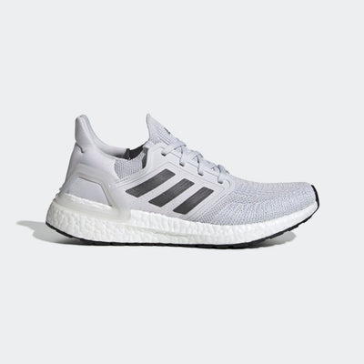 Women's adidas Ultraboost 20 running shoe in a lateral view in color grey and grey
