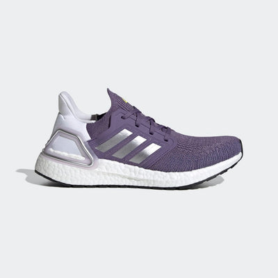 Women's adidas Ultraboost 20 in color tech Purple.  This image is of the lateral side of the right running shoe from adidas.