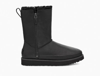 The Women's boot has the same iconic look and feel as the Ugg Classic, but a side-zip construction has been added for easy on and off.  Plus the Zipper makes it look really cool. The inside is lined with Ugg's famous sheepskin and luxurious plush wool blend, and the Classic Zip Short Boot incorporates a lightweight, cushioned sole for an ultra-soft step.
