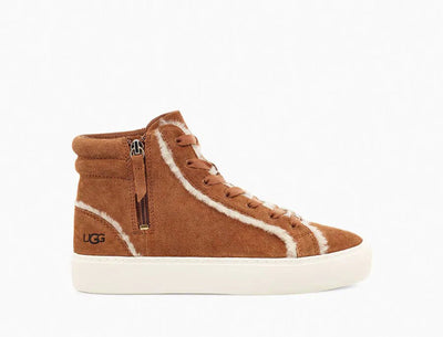 We loved this shoe at first site. It's unmistakably UGG, the Olli features a rich suede upper with soft sheepskin spill seams. Ugg finished this versatile hi-top sneaker with an easy-entry lateral zipper, plus cupsole construction for stability and support.