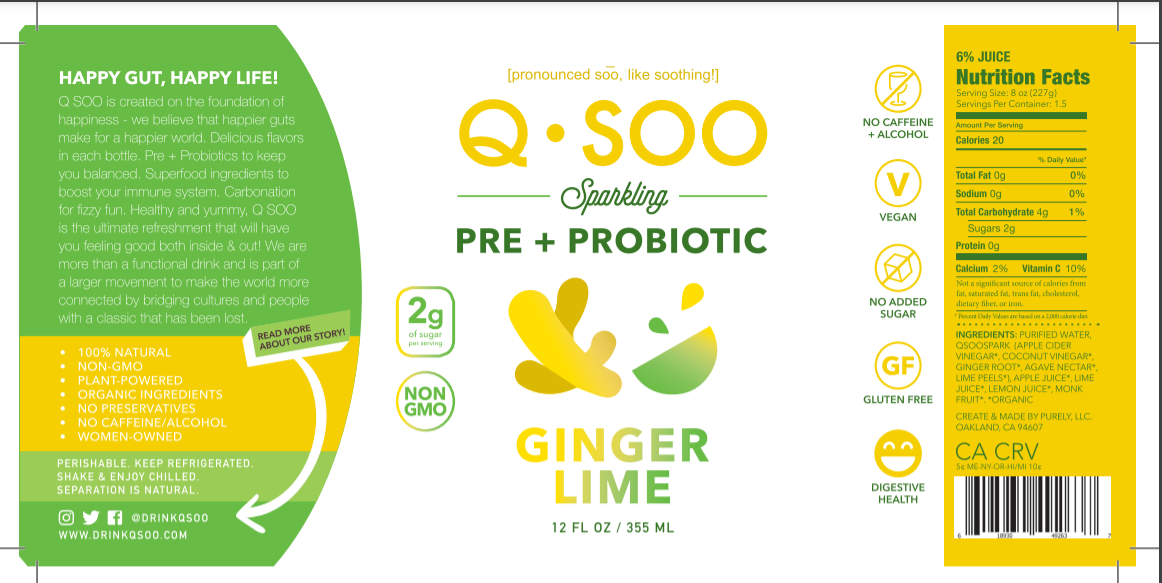 Ginger Lime Pre+Probiotic Tonic (12 bottle case)
