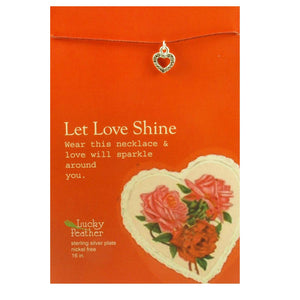 Let Love Shine Linen Cord Bird Charm inspirational Card Necklace