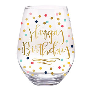 Happy Birthday Jumbo Wine Glass