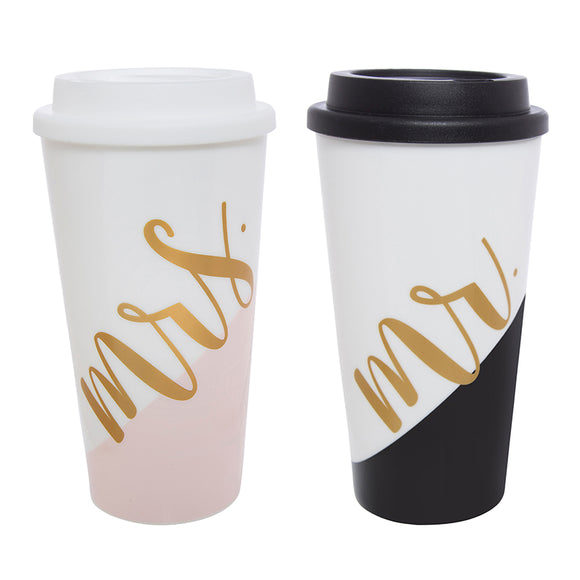 Tumbler Set, Mr. and Mrs. Coffee To Go Cups