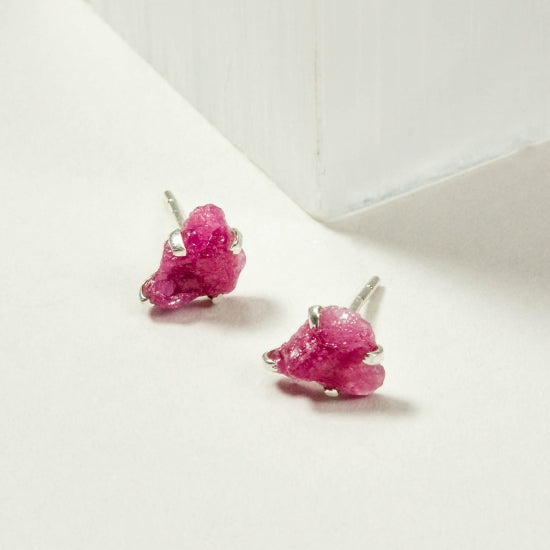 Raw Beauty Post Earring - Ruby
