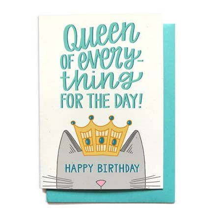 Queen Of Everything Cat Birthday Card