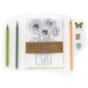 Coloring Postcard Flower Collection