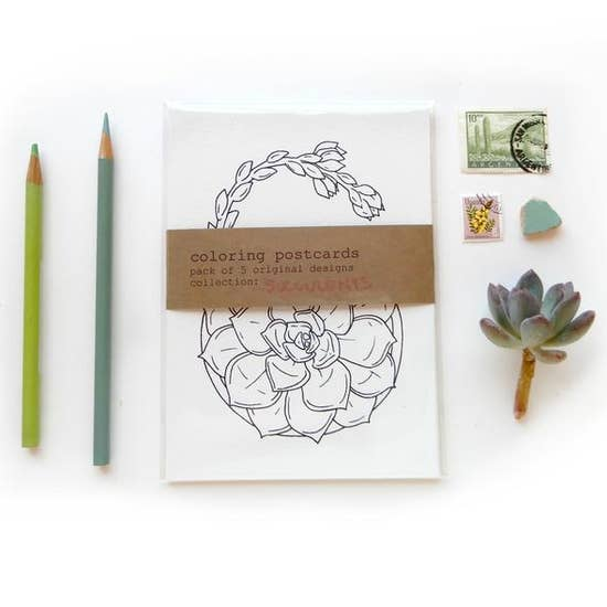 Coloring Postcard Succulent Collection