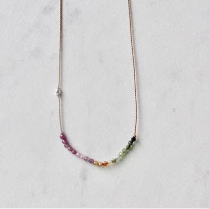 Watermelon Tourmaline Silk Necklace