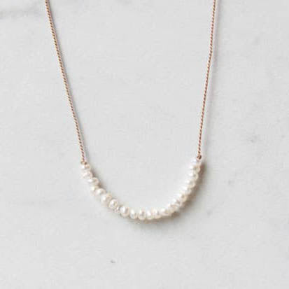 Freshwater Pearl Row Cord Necklace