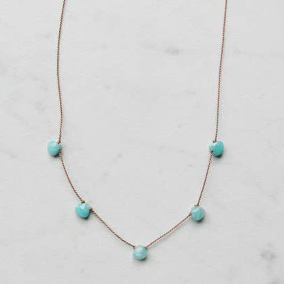 Amazonite Five Gemstone Silk Necklace