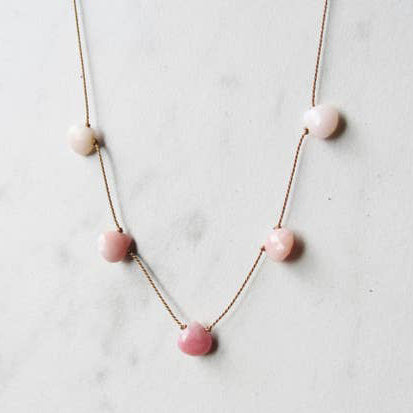 Pink Opal Five Gemstone Silk Necklace