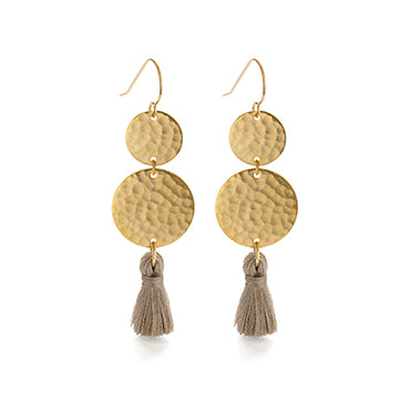 MULTIPLE GOLD HAMMERED DISKS WITH TASSELS