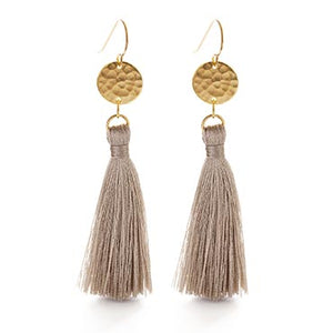 Hammered Gold Disk Tassel Earrings