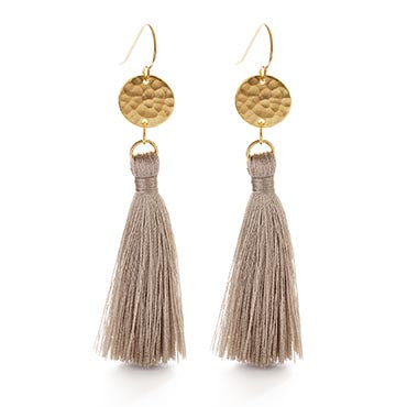 HAMMERED GOLD DISK TAUPE TASSEL EARRINGS