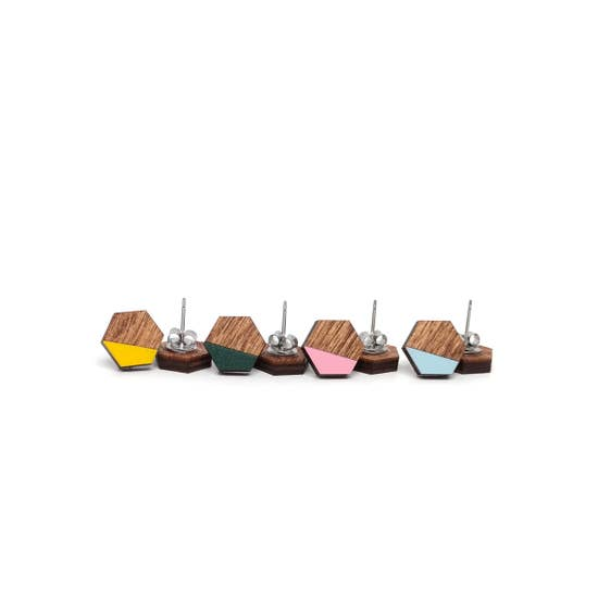 Dip Hex Wood Stud Multi Color Earrings