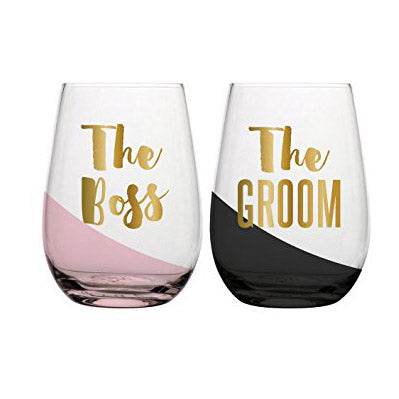 The Boss & The Groom Stemless Wine Glasses