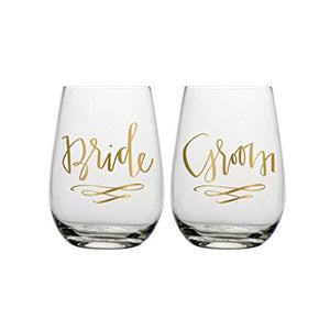 Bride & Groom Stemless Wine Glasses