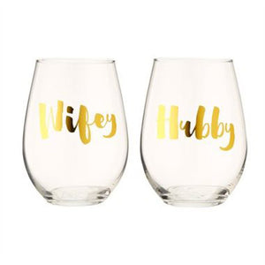 Hubby Wifey Stemless Wine Glasses